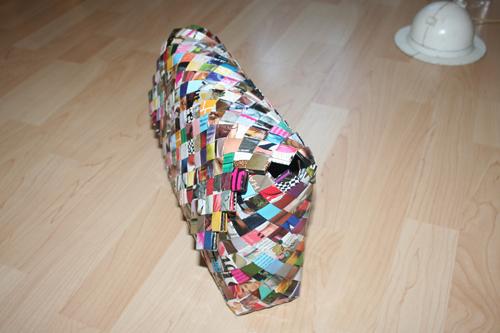 Bred flettet taske med lukkeflap