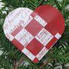 Papir til flettede julehjerter - hvid med rød skrift