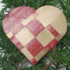 Papir til flettede julehjerter - rød med guldskrift
