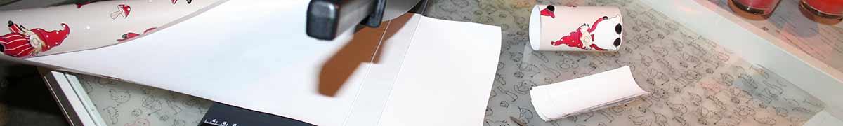 Flettede tasker header - skær papir med skæremaskine