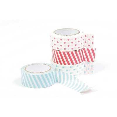 Masking tape / Masking paper 15mmx5m blå og pink striber og prikker