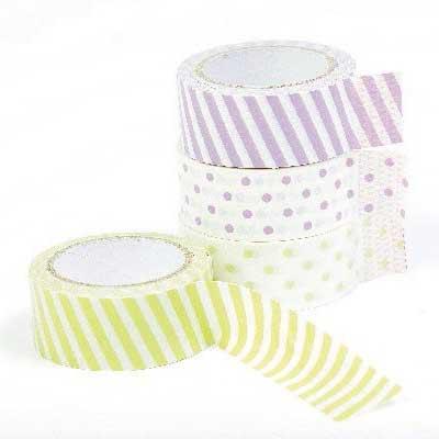 Masking tape / Masking paper 15mmx5m grøn og lilla striber og prikker