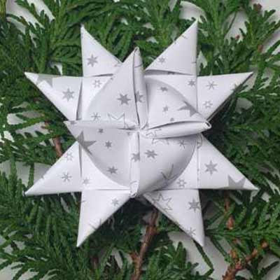 Stjernestrimler - hvid med grå stjerner