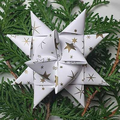 Stjernestrimler - hvid med guldstjerner