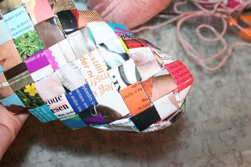 Flettet taske med 4 tern bred bund