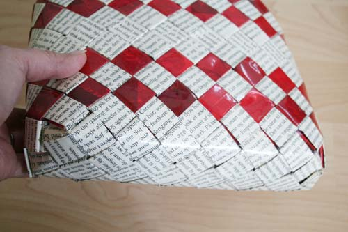 Flettet taske med bred bund - 4 tern bred bund