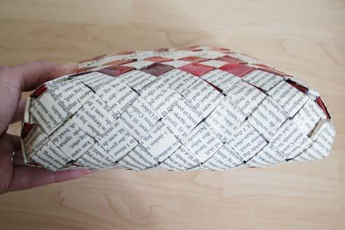Flettet taske med flad bund - 4 tern bred set nedefra
