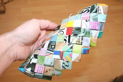 Flettede tasker - sy første ring på bunden