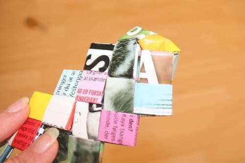 Flettede tasker - sy bunden sammen - buk hjørnet ind og sy det