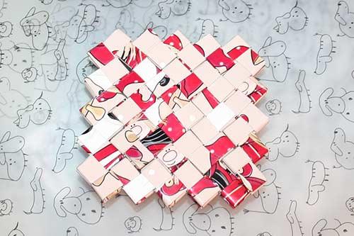 Flettet taske - kvadratisk bund til skåle, fade, æsker m.m.