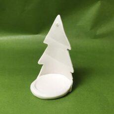 Lysestage til fyrfadslys - porcelæn med juletræ