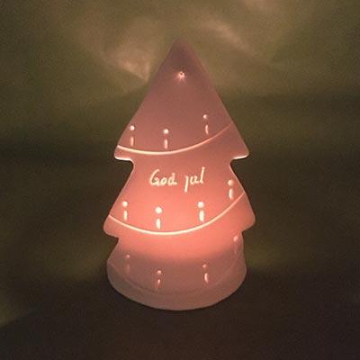 Porcelænslysestage med juletræ - håndlavet keramik