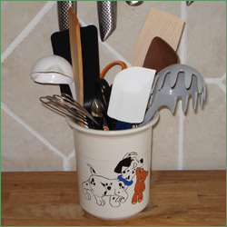 Porcelænsmaling - Krukke til køkkenredskaber med billede af hvalp