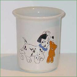 Porcelænsmaling - Krukke/vase med hvalp